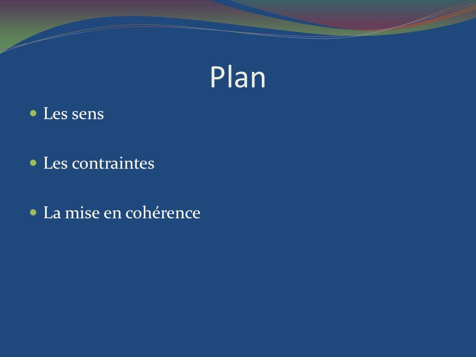 Plan Les sens Les contraintes La mise en cohérence