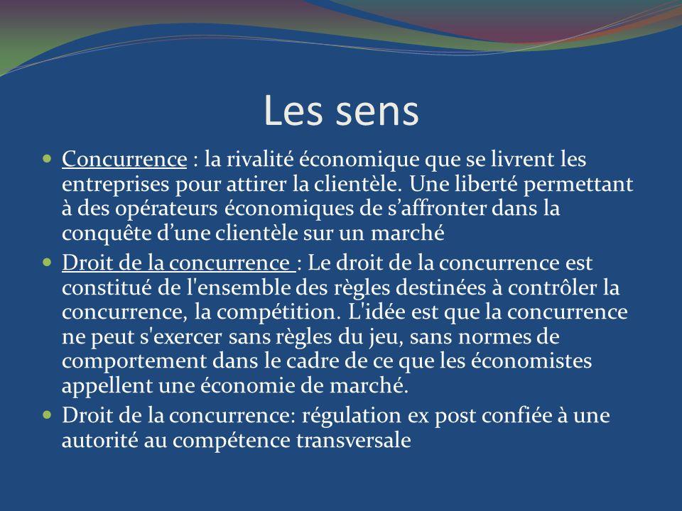 Les sens Concurrence : la rivalité économique que se livrent les entreprises pour attirer la clientèle.