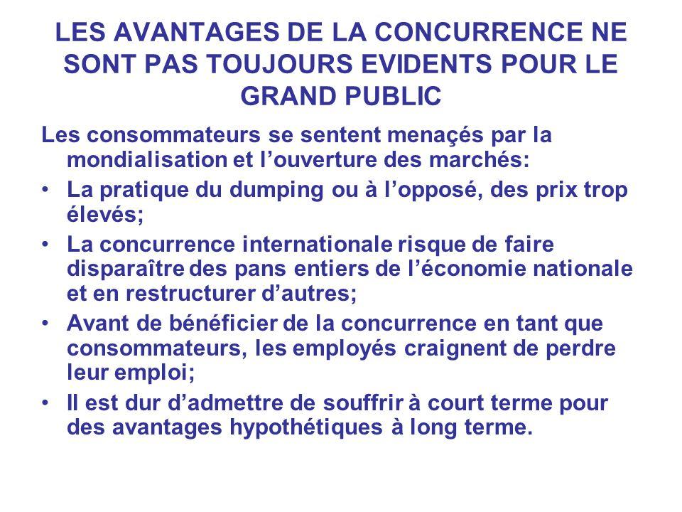 LES AVANTAGES DE LA CONCURRENCE NE SONT PAS TOUJOURS EVIDENTS POUR LE GRAND PUBLIC Les consommateurs se sentent menaçés par la mondialisation et louve