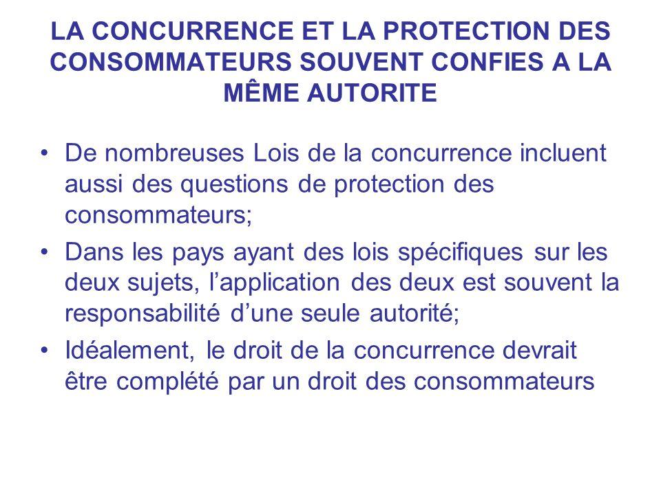 LA CONCURRENCE ET LA PROTECTION DES CONSOMMATEURS SOUVENT CONFIES A LA MÊME AUTORITE De nombreuses Lois de la concurrence incluent aussi des questions