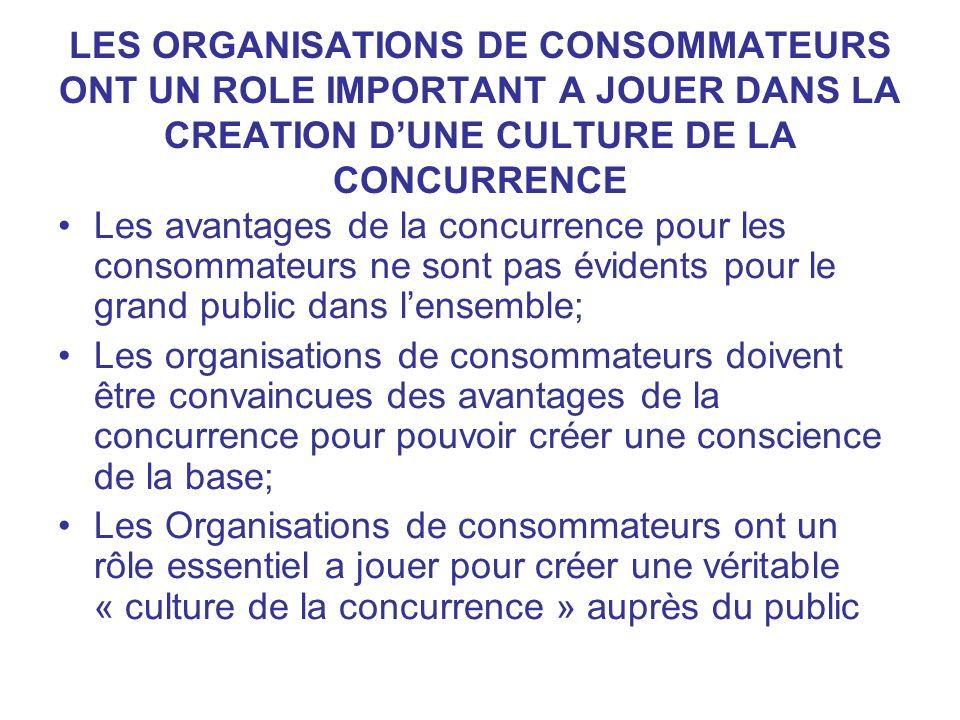 LES ORGANISATIONS DE CONSOMMATEURS ONT UN ROLE IMPORTANT A JOUER DANS LA CREATION DUNE CULTURE DE LA CONCURRENCE Les avantages de la concurrence pour
