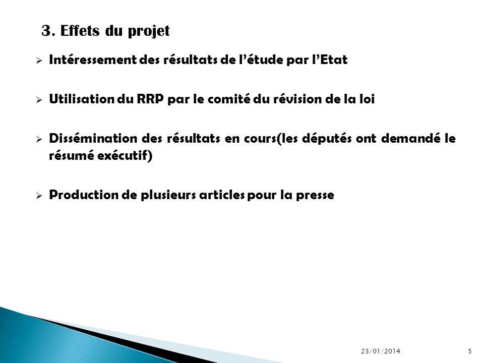 Intéressement des résultats de létude par lEtat Utilisation du RRP par le comité du révision de la loi Dissémination des résultats en cours(les député