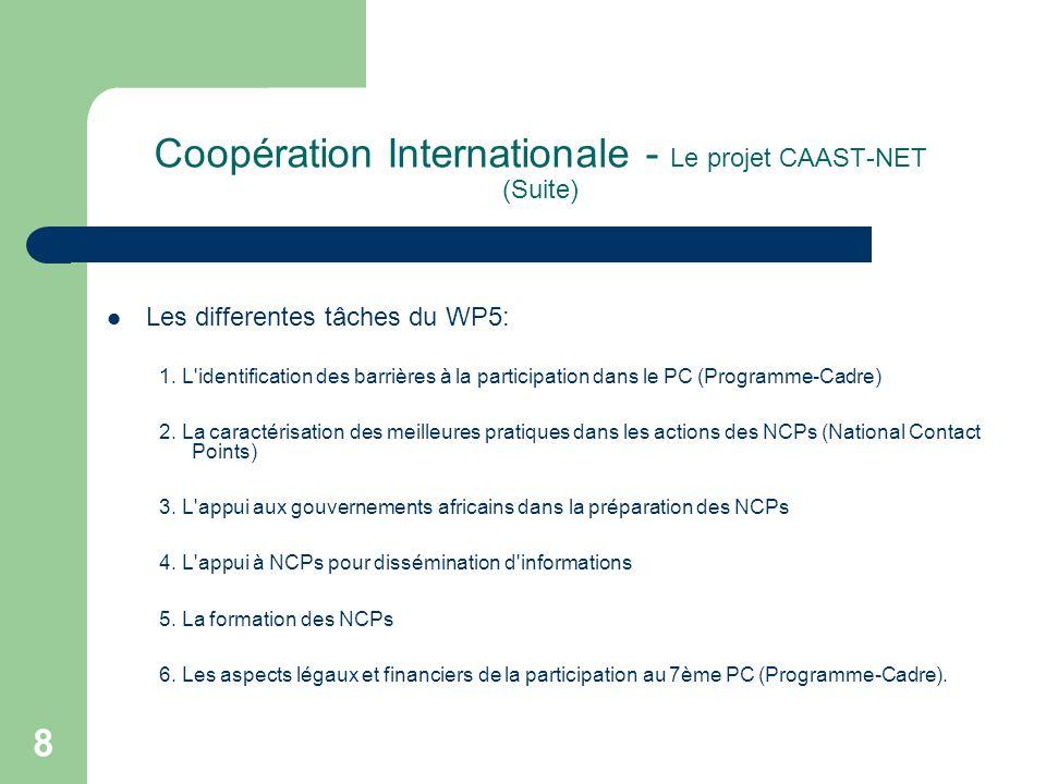 Coopération Internationale - Le projet CAAST-NET (Suite) Les differentes tâches du WP5: 1.