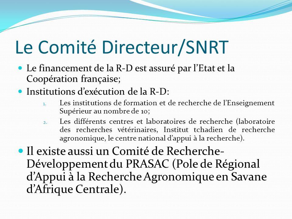 Le Comité Directeur/SNRT Le financement de la R-D est assuré par lEtat et la Coopération française; Institutions dexécution de la R-D: 1. Les institut