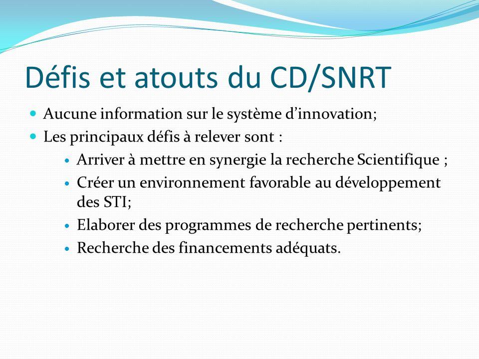 Défis et atouts du CD/SNRT Aucune information sur le système dinnovation; Les principaux défis à relever sont : Arriver à mettre en synergie la recher