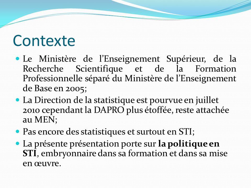 Politique en STI Le cadre légal de la politique ST au Tchad est la loi n°16 portant Orientation du système éducatif au Tchad du 13/03/ 2006 en ses articles de 44 à 53 fondant la STI et la R-D.