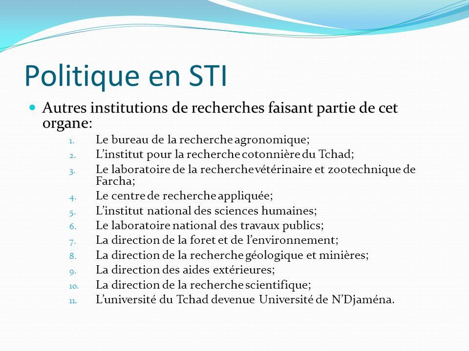 Politique en STI Autres institutions de recherches faisant partie de cet organe: 1. Le bureau de la recherche agronomique; 2. Linstitut pour la recher