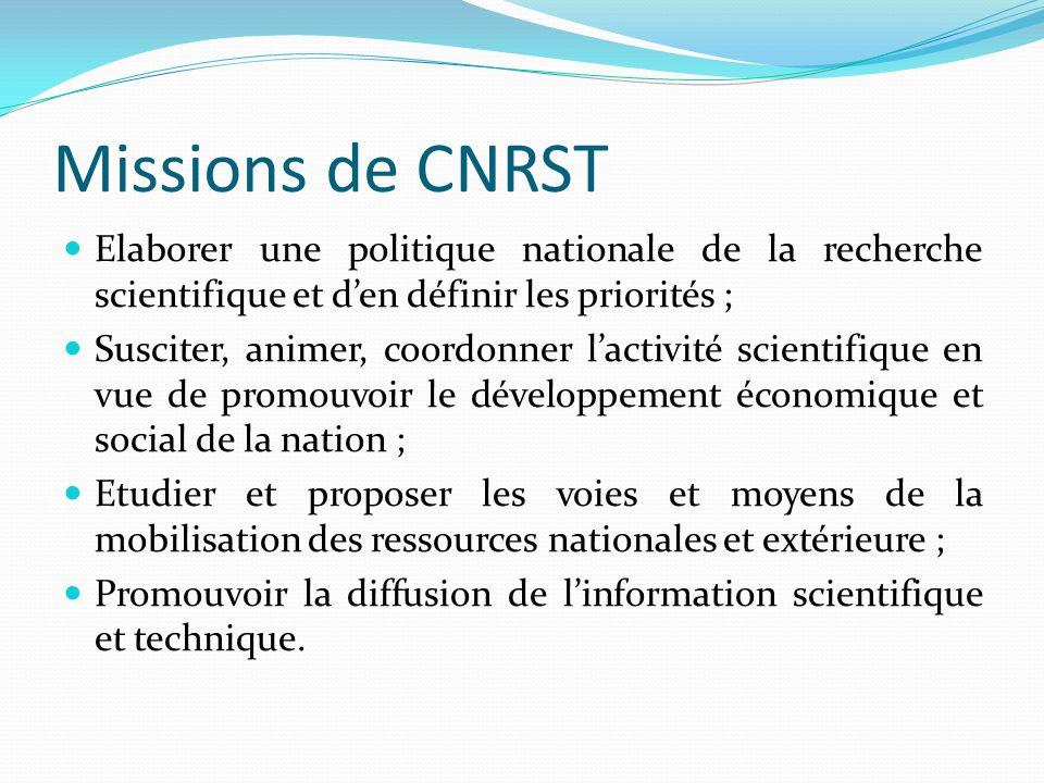 Missions de CNRST Elaborer une politique nationale de la recherche scientifique et den définir les priorités ; Susciter, animer, coordonner lactivité