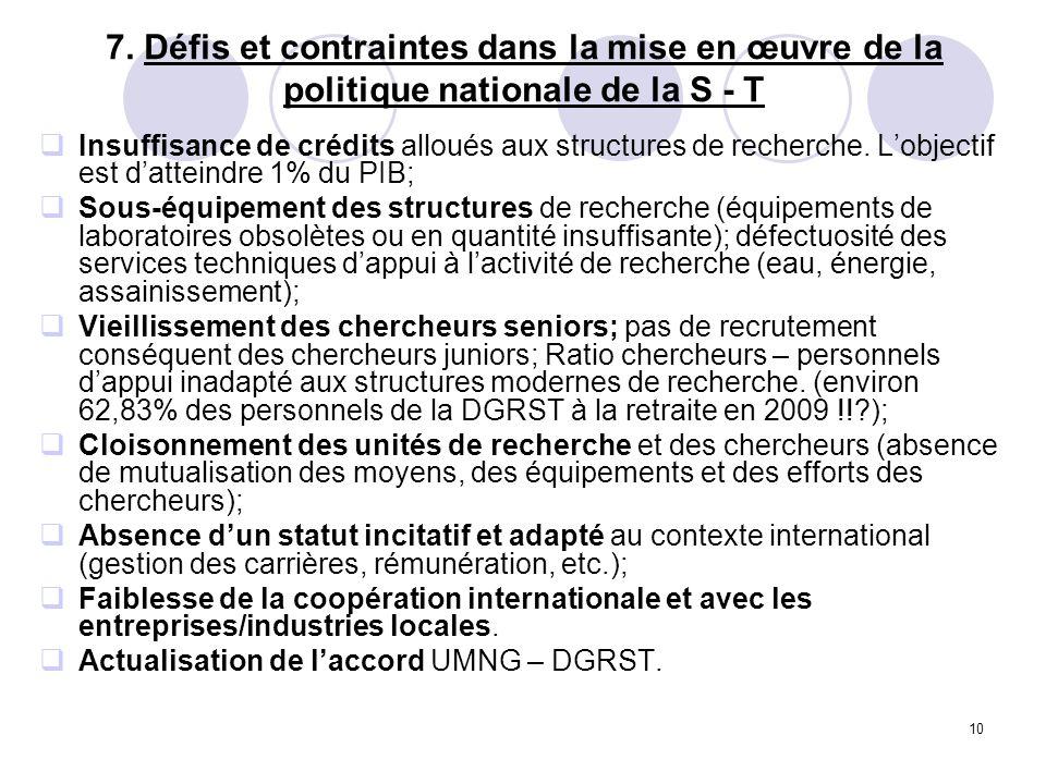 10 7. Défis et contraintes dans la mise en œuvre de la politique nationale de la S - T Insuffisance de crédits alloués aux structures de recherche. Lo