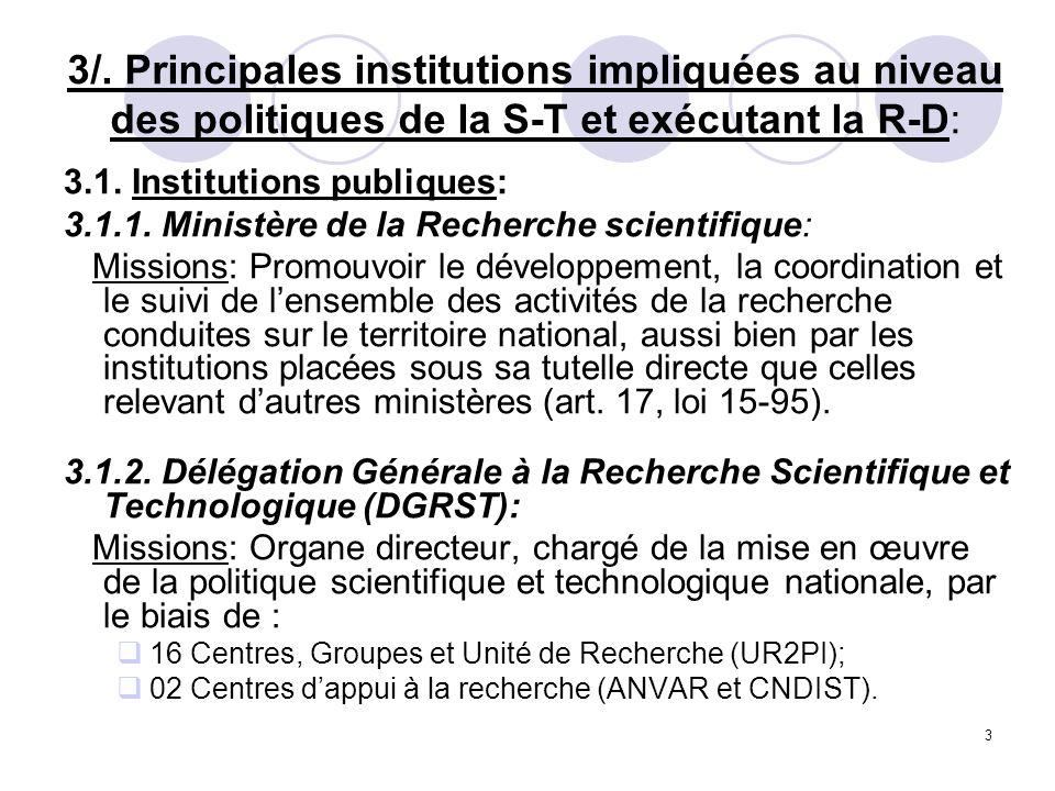 3 3/. Principales institutions impliquées au niveau des politiques de la S-T et exécutant la R-D: 3.1. Institutions publiques: 3.1.1. Ministère de la