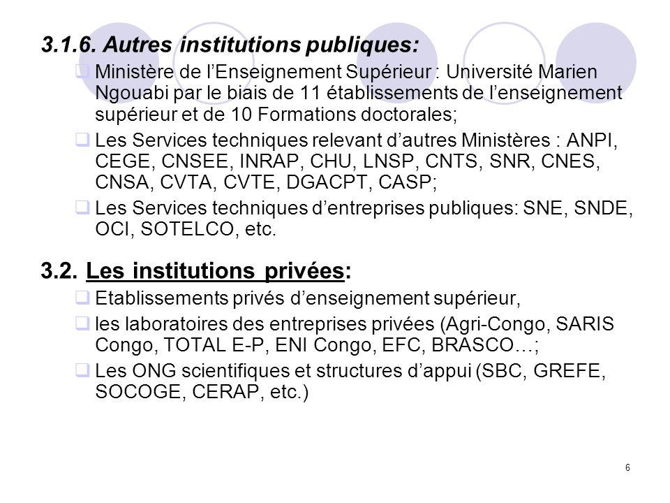 6 3.1.6. Autres institutions publiques: Ministère de lEnseignement Supérieur : Université Marien Ngouabi par le biais de 11 établissements de lenseign
