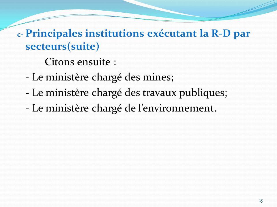 c- Principales institutions exécutant la R-D par secteurs Citons dabord: - CENAREST à travers ses instituts ; - UNIVERSITES et Grandes Ecoles à traver