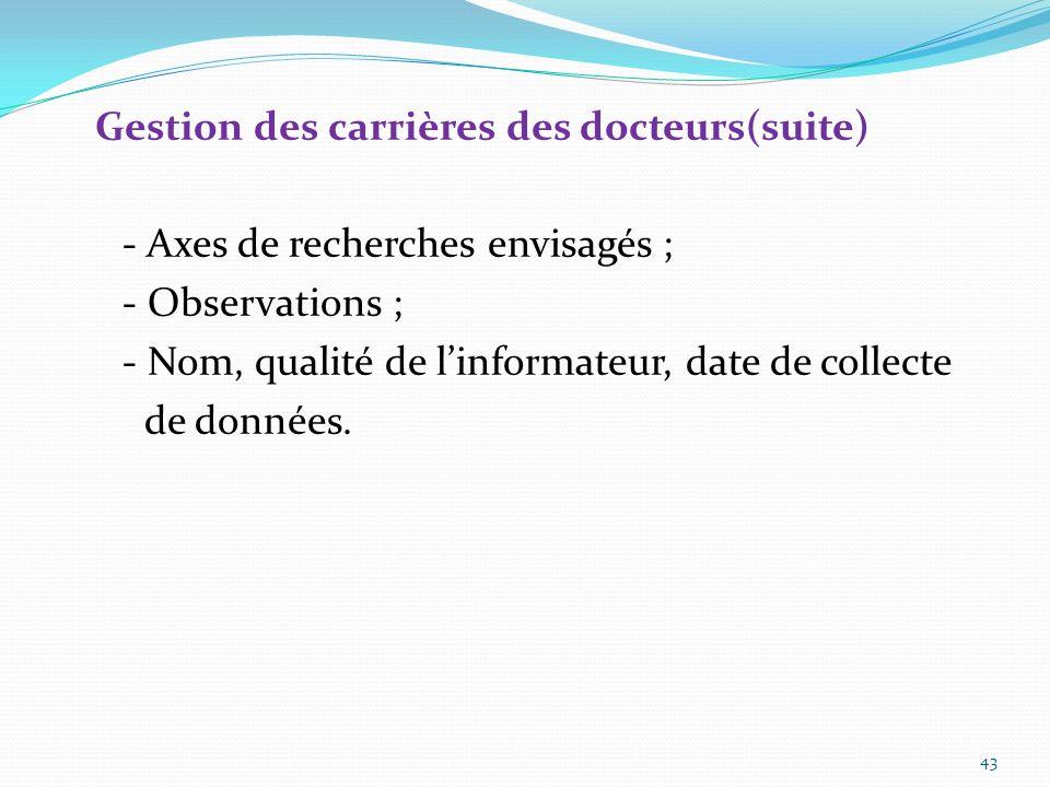 Gestion des carrières des docteurs(suite) - Nom du responsable ; - Thèmes ou domaines de recherche ; - Autres activités de la structure ; - Compositio