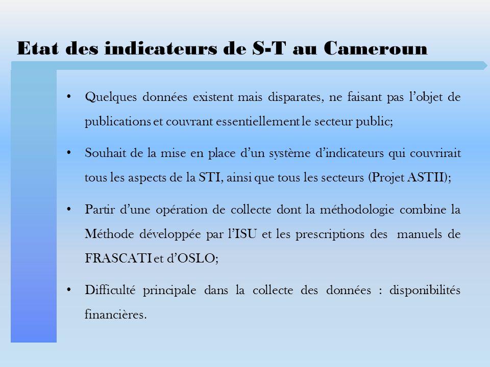 Etat des indicateurs de S-T au Cameroun Quelques données existent mais disparates, ne faisant pas lobjet de publications et couvrant essentiellement l