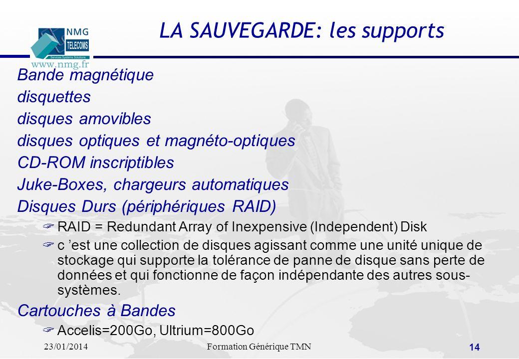 23/01/2014Formation Générique TMN 13 LA SAUVEGARDE: les critères de choix.. La perte de fichiers informatiques coûte chaque année 12,7 milliards de fr