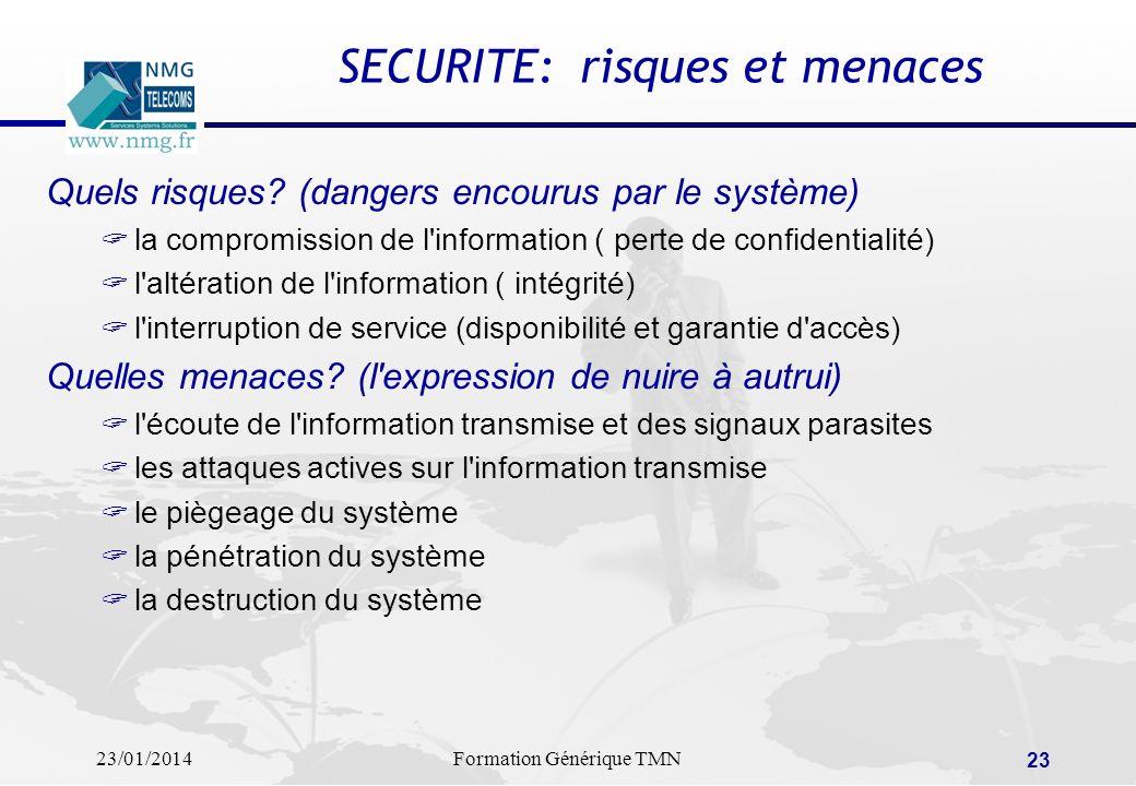 23/01/2014Formation Générique TMN 22 La SECURITE dans les réseaux: les solutions de sécurisation Chiffrement et cryptage des informations clés de cryp