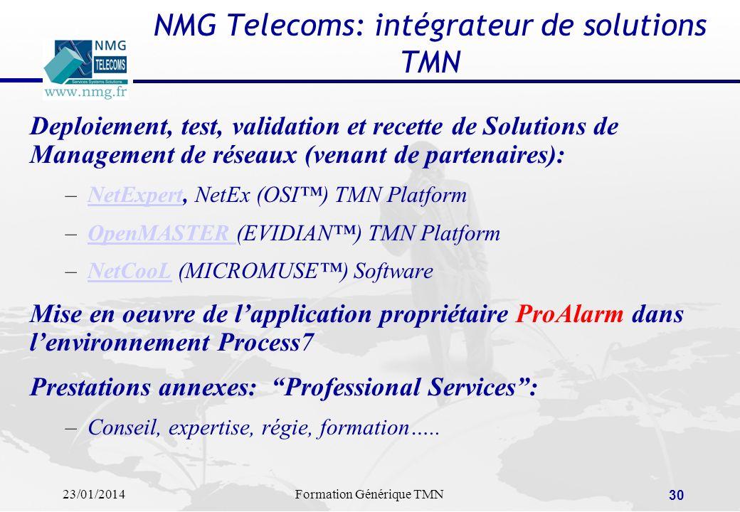 23/01/2014Formation Générique TMN 29 Conclusions L avenir de l administration passera par l Internet Internet facilite l administration à distance Il