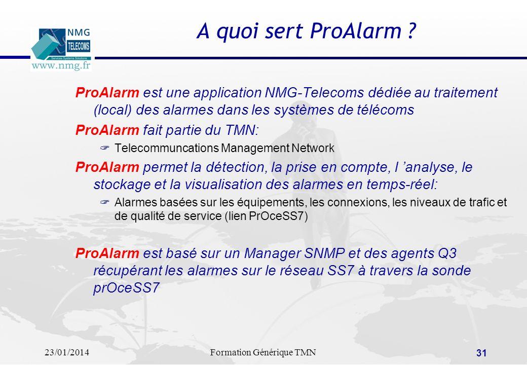 23/01/2014Formation Générique TMN 30 NMG Telecoms: intégrateur de solutions TMN Deploiement, test, validation et recette de Solutions de Management de