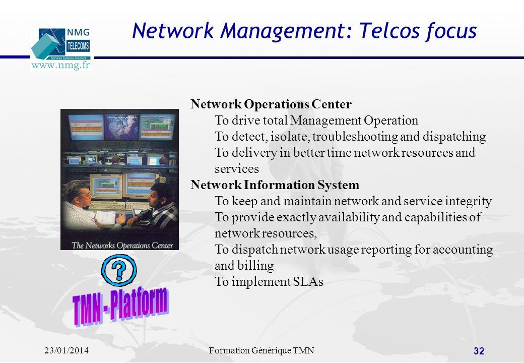 23/01/2014Formation Générique TMN 31 A quoi sert ProAlarm ? ProAlarm est une application NMG-Telecoms dédiée au traitement (local) des alarmes dans le