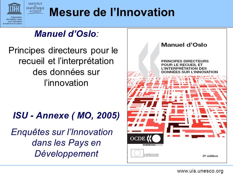 www.uis.unesco.org Mesure de lInnovation Manuel dOslo: Principes directeurs pour le recueil et linterprétation des données sur linnovation ISU - Annexe ( MO, 2005) Enquêtes sur lInnovation dans les Pays en Développement