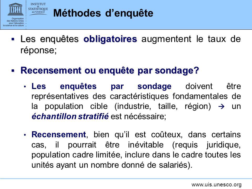 www.uis.unesco.org Méthodes denquête Les enquêtes obligatoires Les enquêtes obligatoires augmentent le taux de réponse; Recensement ou enquête par sondage.