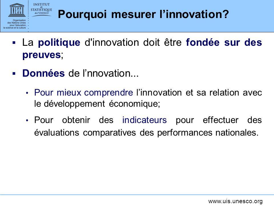 www.uis.unesco.org Pourquoi mesurer linnovation.