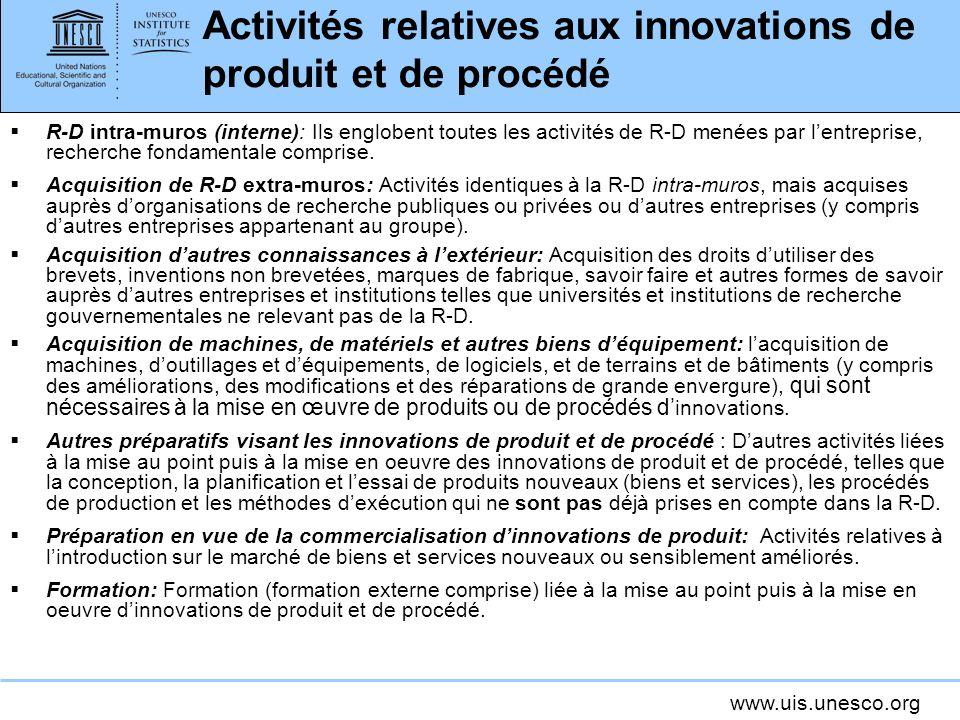 www.uis.unesco.org Activités relatives aux innovations de produit et de procédé R-D intra-muros (interne): Ils englobent toutes les activités de R-D m