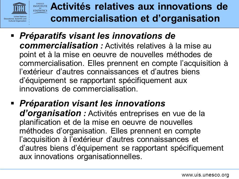 www.uis.unesco.org Activités relatives aux innovations de commercialisation et dorganisation Préparatifs visant les innovations de commercialisation :