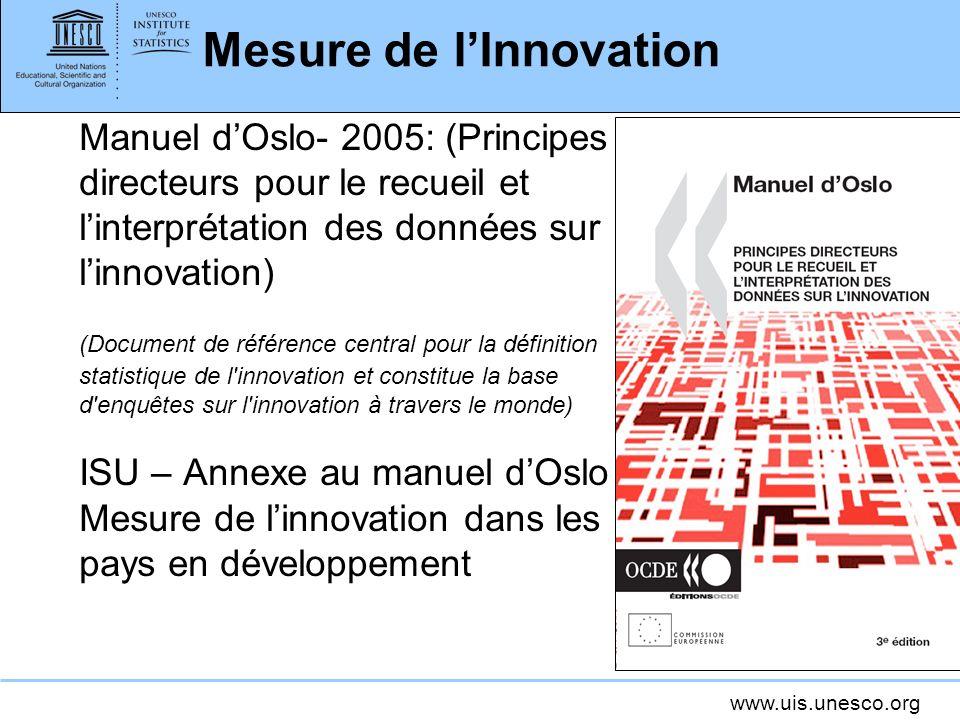 www.uis.unesco.org Mesure de lInnovation Manuel dOslo- 2005: (Principes directeurs pour le recueil et linterprétation des données sur linnovation) (Do