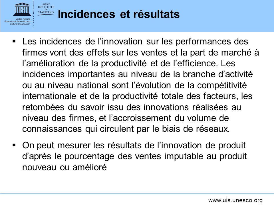 www.uis.unesco.org Incidences et résultats Les incidences de linnovation sur les performances des firmes vont des effets sur les ventes et la part de