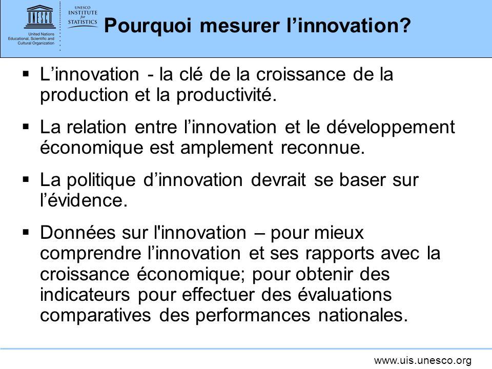 www.uis.unesco.org Pourquoi mesurer linnovation? Linnovation - la clé de la croissance de la production et la productivité. La relation entre linnovat