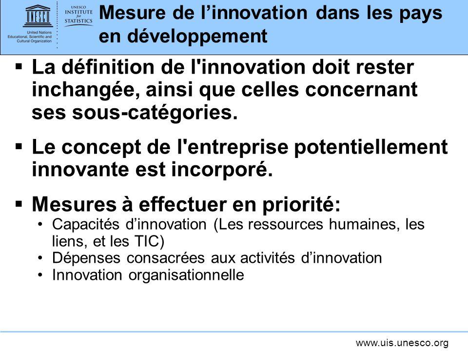 www.uis.unesco.org Mesure de linnovation dans les pays en développement La définition de l'innovation doit rester inchangée, ainsi que celles concerna
