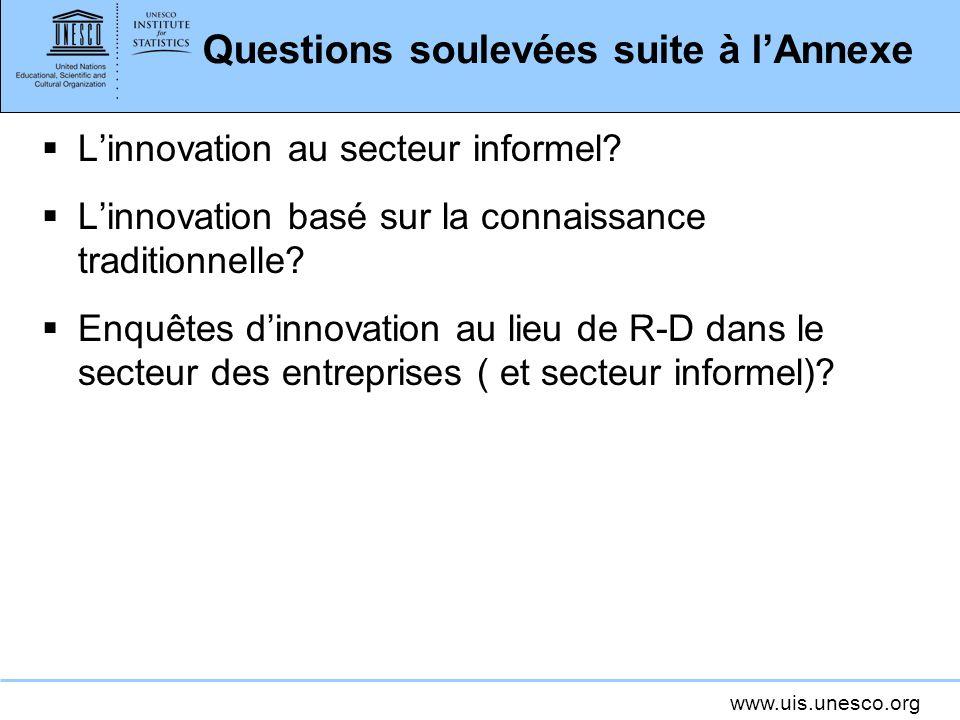 www.uis.unesco.org Questions soulevées suite à lAnnexe Linnovation au secteur informel? Linnovation basé sur la connaissance traditionnelle? Enquêtes