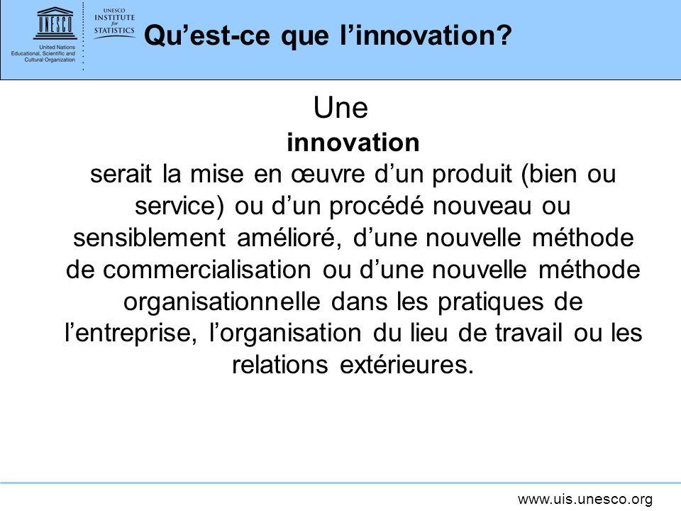www.uis.unesco.org Quest-ce que linnovation? Une innovation serait la mise en œuvre dun produit (bien ou service) ou dun procédé nouveau ou sensibleme