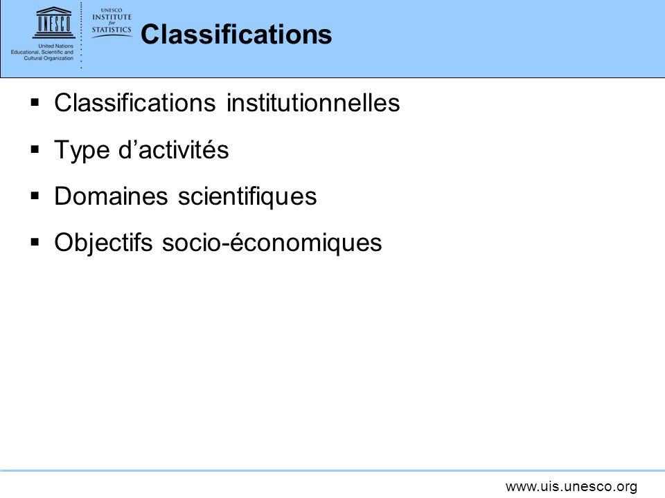www.uis.unesco.org Classifications Classifications institutionnelles Type dactivités Domaines scientifiques Objectifs socio-économiques