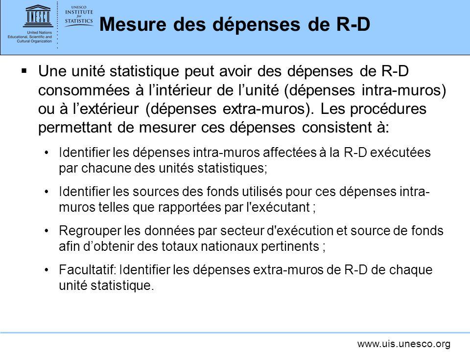 www.uis.unesco.org Mesure des dépenses de R-D Une unité statistique peut avoir des dépenses de R-D consommées à lintérieur de lunité (dépenses intra-muros) ou à lextérieur (dépenses extra-muros).