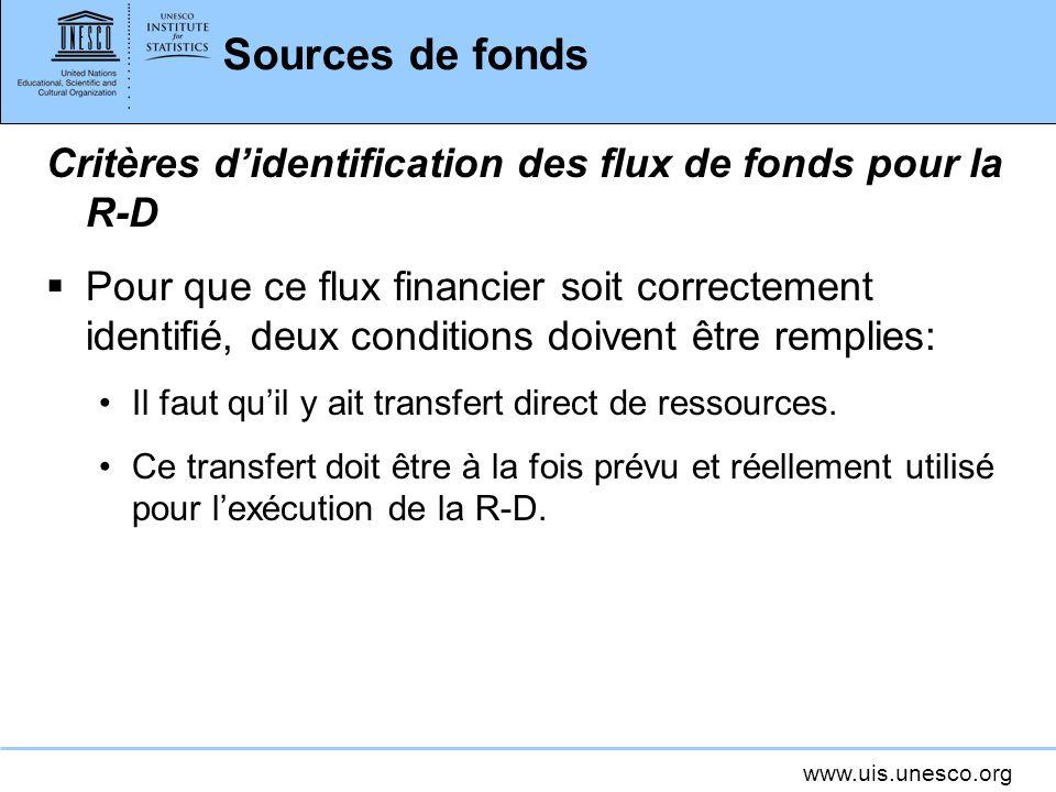 www.uis.unesco.org Sources de fonds Critères didentification des flux de fonds pour la R-D Pour que ce flux financier soit correctement identifié, deux conditions doivent être remplies: Il faut quil y ait transfert direct de ressources.