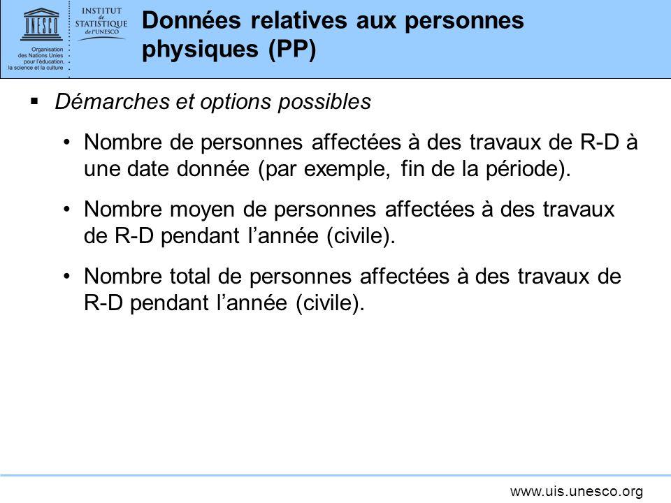 www.uis.unesco.org Données relatives aux personnes physiques (PP) Démarches et options possibles Nombre de personnes affectées à des travaux de R-D à une date donnée (par exemple, fin de la période).