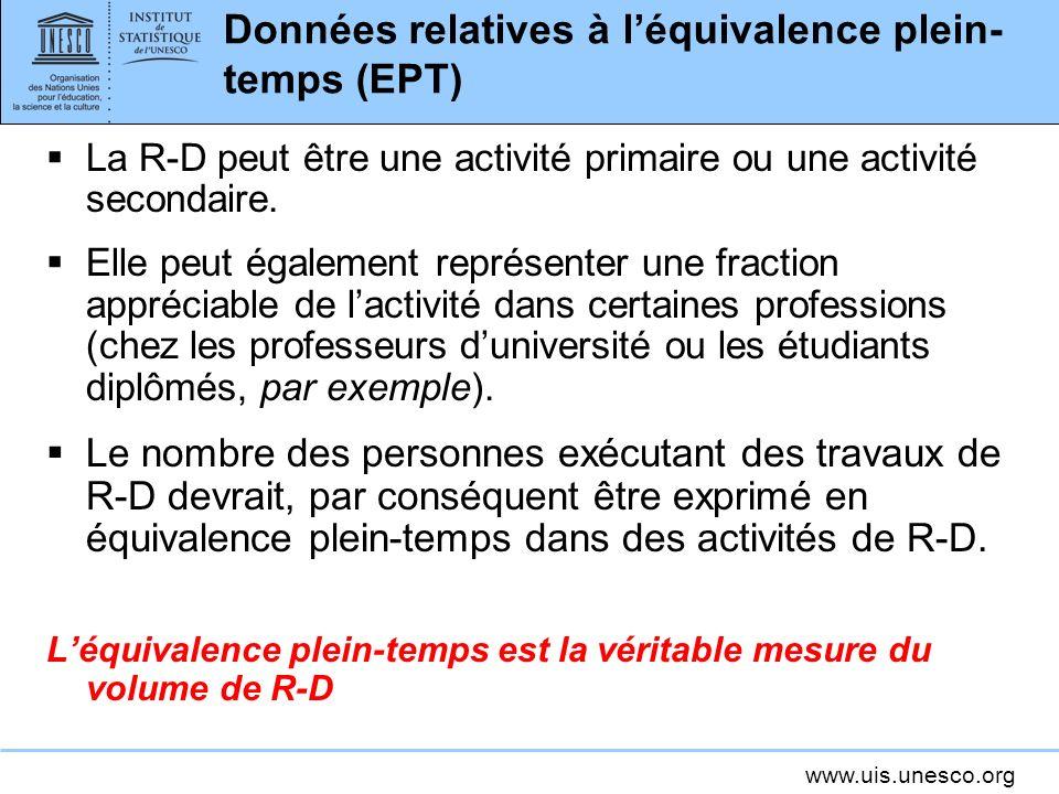 www.uis.unesco.org Données relatives à léquivalence plein- temps (EPT) La R-D peut être une activité primaire ou une activité secondaire.