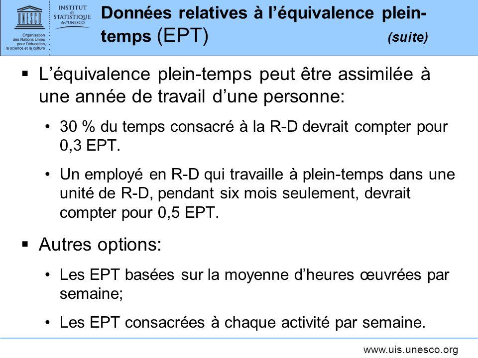 www.uis.unesco.org Données relatives à léquivalence plein- temps (EPT) (suite) Léquivalence plein-temps peut être assimilée à une année de travail dune personne: 30 % du temps consacré à la R-D devrait compter pour 0,3 EPT.