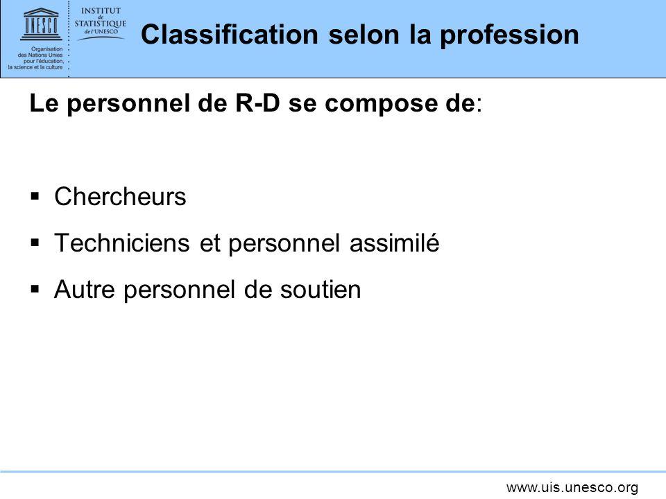 www.uis.unesco.org Classification selon la profession Le personnel de R-D se compose de: Chercheurs Techniciens et personnel assimilé Autre personnel de soutien