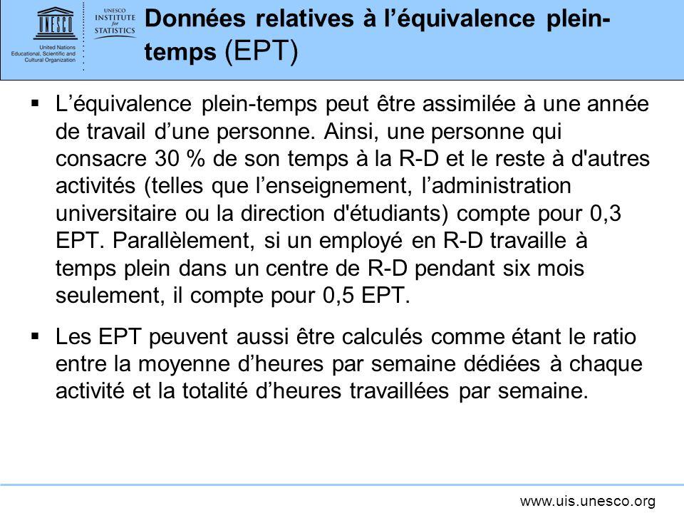 www.uis.unesco.org Données relatives à léquivalence plein- temps (EPT) Léquivalence plein-temps peut être assimilée à une année de travail dune personne.