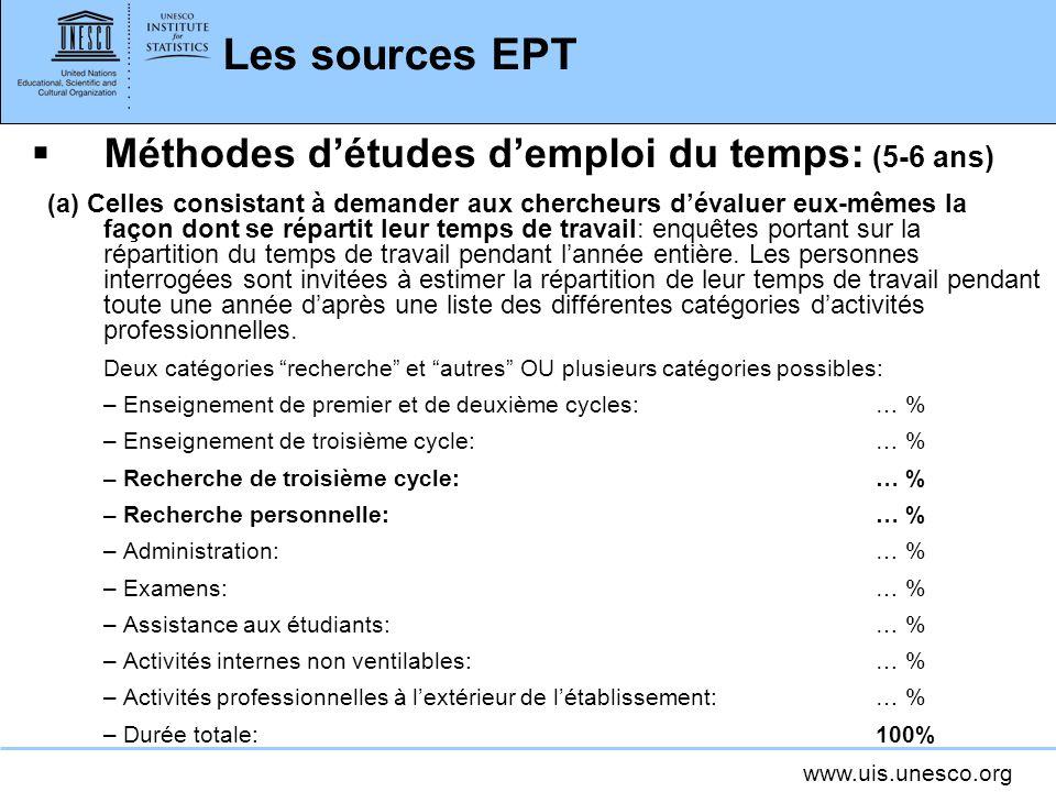 www.uis.unesco.org Les sources EPT Méthodes détudes demploi du temps: (5-6 ans) (a) Celles consistant à demander aux chercheurs dévaluer eux-mêmes la façon dont se répartit leur temps de travail: enquêtes portant sur la répartition du temps de travail pendant lannée entière.