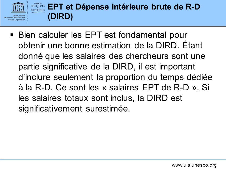 www.uis.unesco.org EPT et Dépense intérieure brute de R-D (DIRD) Bien calculer les EPT est fondamental pour obtenir une bonne estimation de la DIRD.