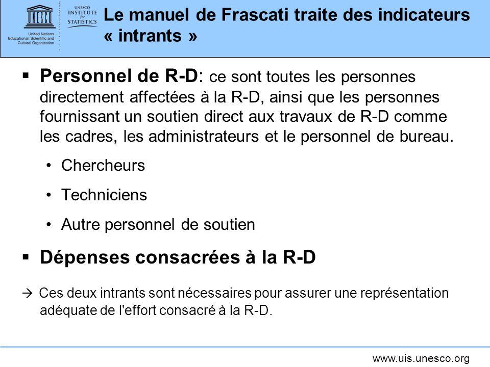 www.uis.unesco.org Le manuel de Frascati traite des indicateurs « intrants » Personnel de R-D: ce sont toutes les personnes directement affectées à la R-D, ainsi que les personnes fournissant un soutien direct aux travaux de R-D comme les cadres, les administrateurs et le personnel de bureau.