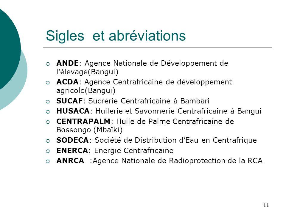 11 Sigles et abréviations ANDE: Agence Nationale de Développement de lélevage(Bangui) ACDA: Agence Centrafricaine de développement agricole(Bangui) SUCAF: Sucrerie Centrafricaine à Bambari HUSACA: Huilerie et Savonnerie Centrafricaine à Bangui CENTRAPALM: Huile de Palme Centrafricaine de Bossongo (Mbaïki) SODECA: Société de Distribution dEau en Centrafrique ENERCA: Energie Centrafricaine ANRCA :Agence Nationale de Radioprotection de la RCA