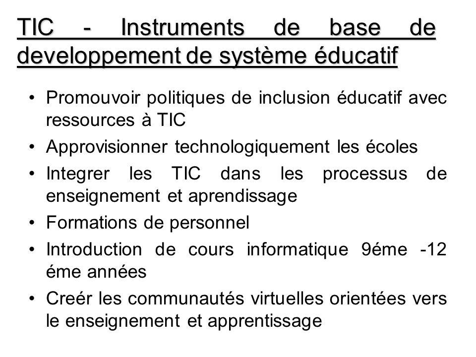 TIC - Instruments de base de developpement de système éducatif Promouvoir politiques de inclusion éducatif avec ressources à TIC Approvisionner techno