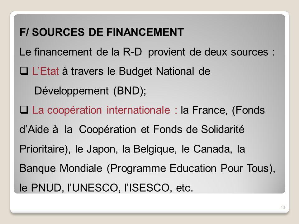 F/ SOURCES DE FINANCEMENT Le financement de la R-D provient de deux sources : LEtat à travers le Budget National de Développement (BND); La coopératio