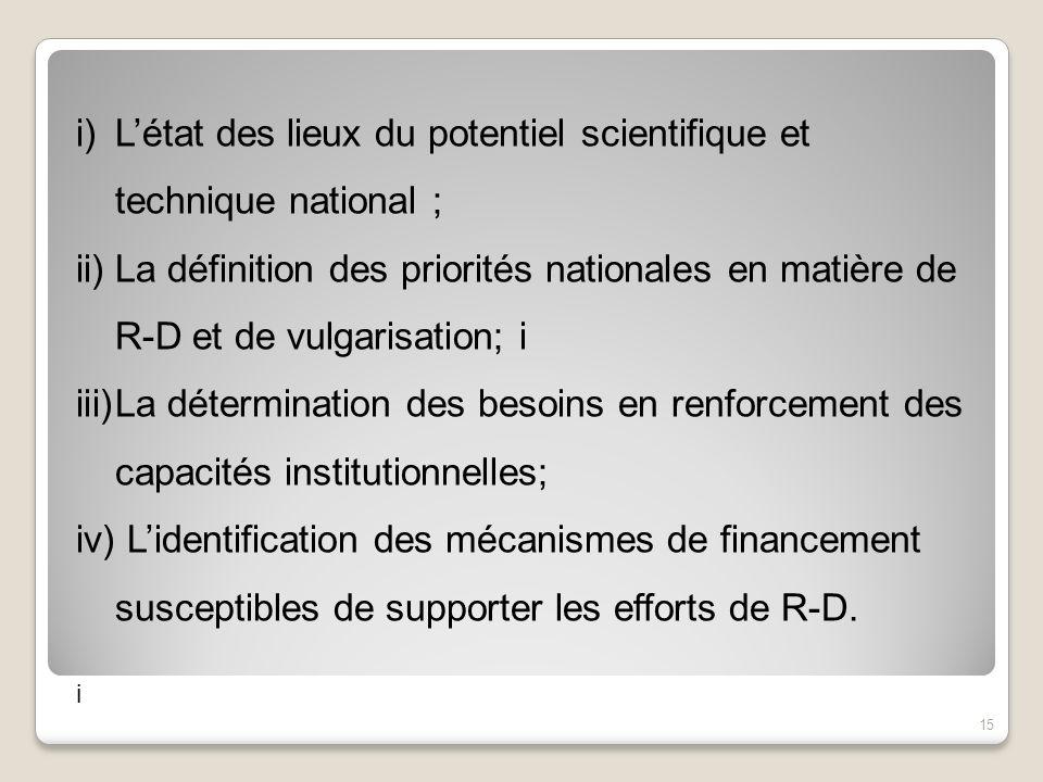 i)Létat des lieux du potentiel scientifique et technique national ; ii)La définition des priorités nationales en matière de R-D et de vulgarisation; i