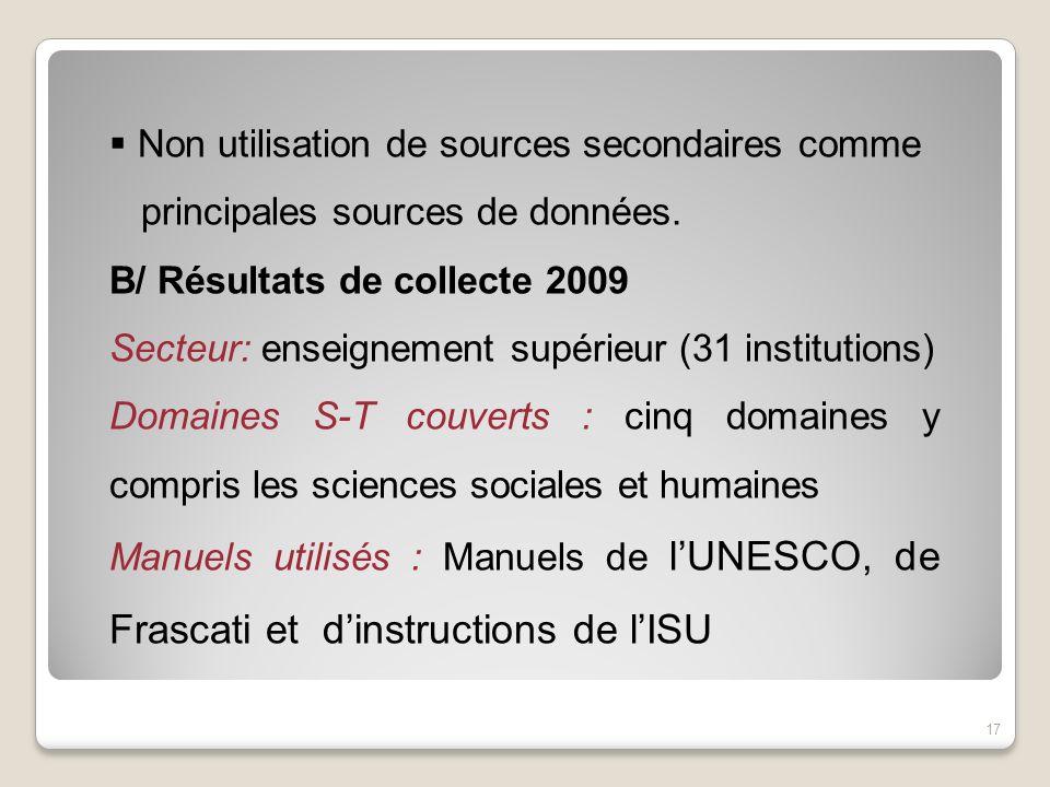 Non utilisation de sources secondaires comme principales sources de données. B/ Résultats de collecte 2009 Secteur: enseignement supérieur (31 institu